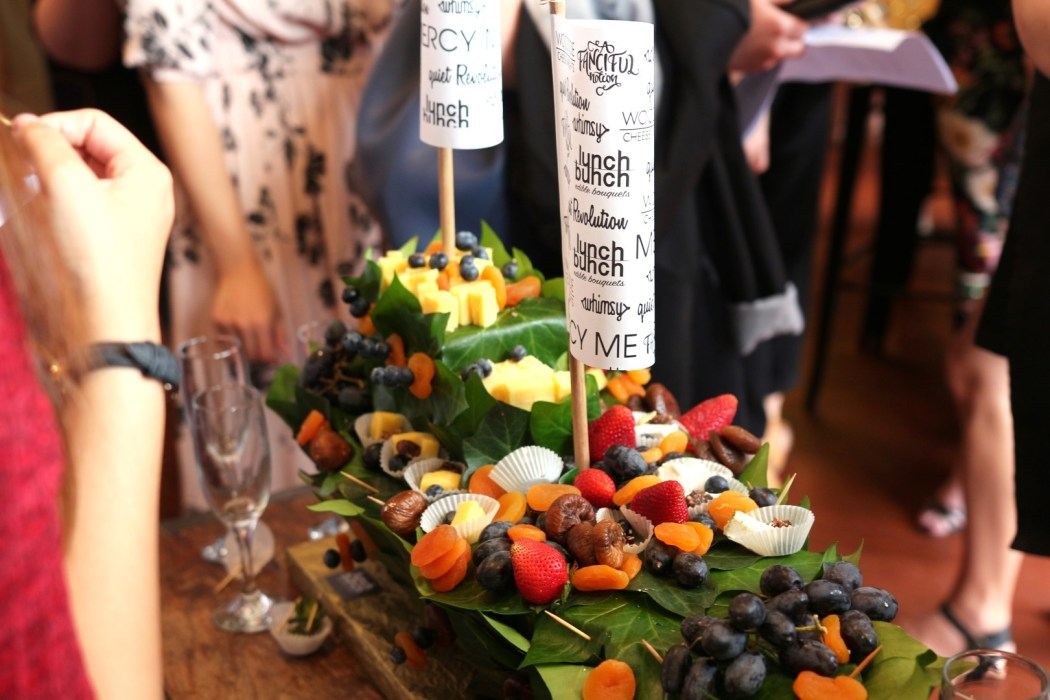Impressive Lunch Bunch grazing boat at the launch of A Fanciful Notion.