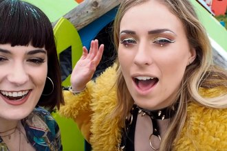 Melissa Zahorujko and Kristen Byass attend Isle of Wight Festival