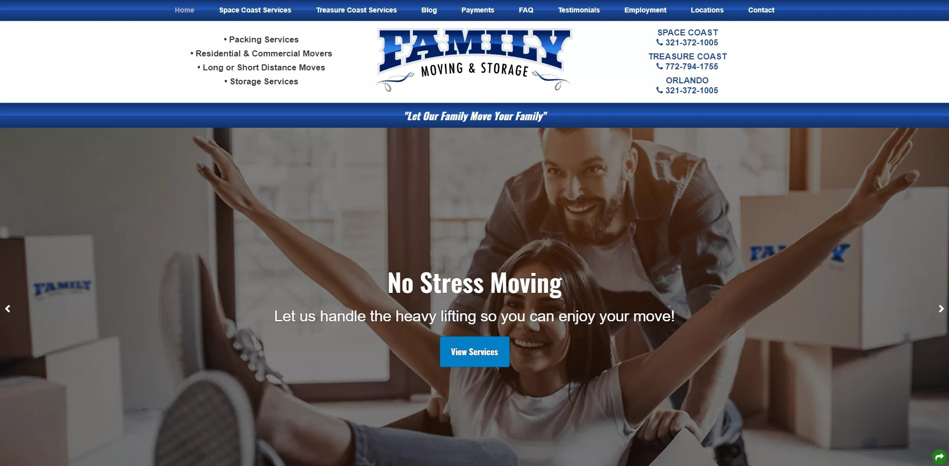 Screenshot of Family Moving and Storage's website