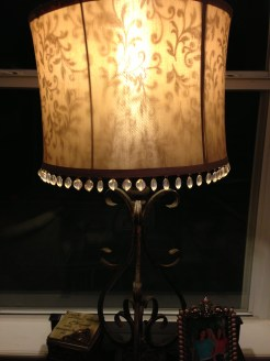 Up close view of living room lamp from Hobby Lobby