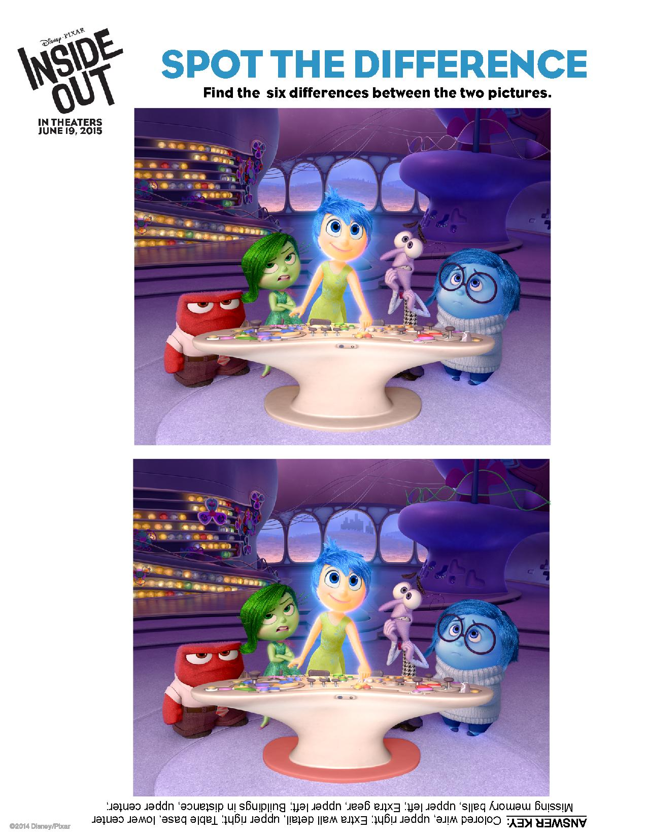 Insideout Holiday Activity Sheets