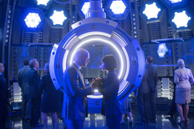 Marvel's Ant-Man L to R: Darren Cross (Corey Stoll) and Hope Van Dyne (Evangeline Lilly) Photo Credit: Zade Rosenthal © Marvel 2014