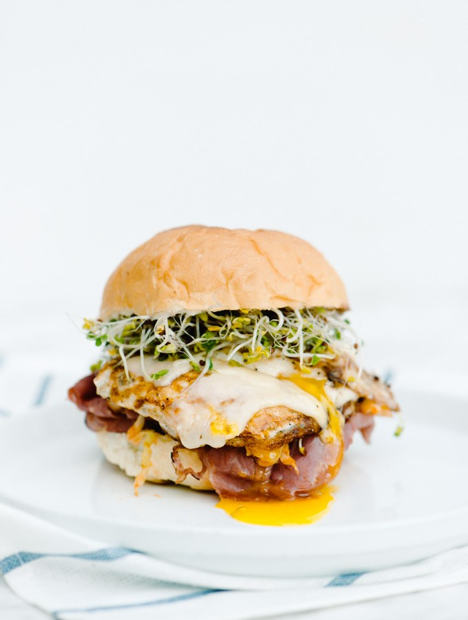 Spicy Sriracha Cabbage & Pastrami Egg Sandwich