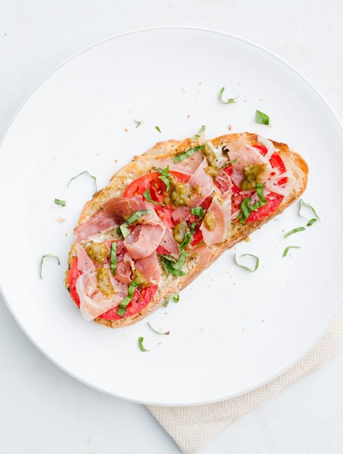 Tomato, Pesto, & Prosciutto Toast