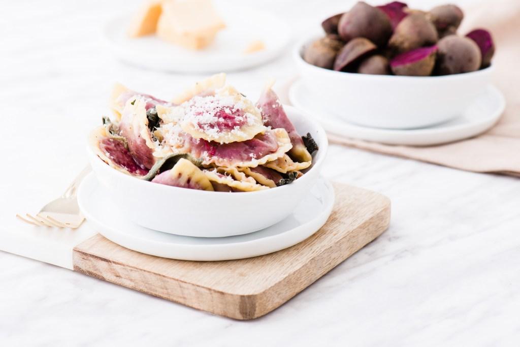 Beet Green Ravioli - Homemade ravioli filled with delicious beet greens.
