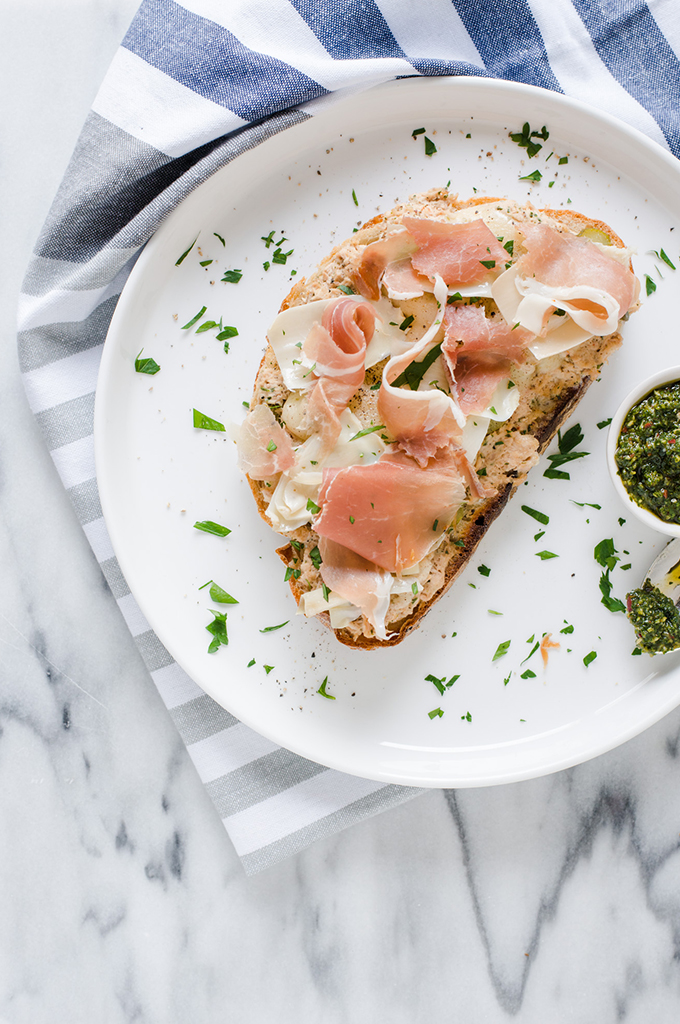 Chimichurri, Artichoke, and Prosciutto Tuna Melt