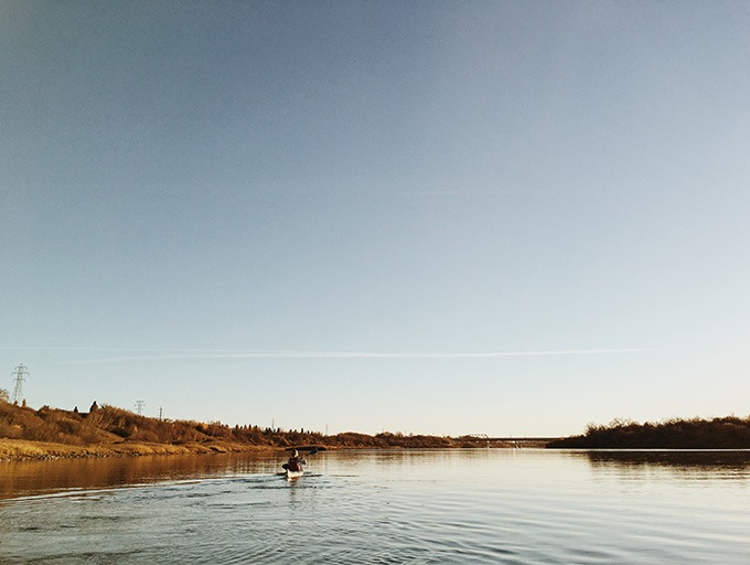 Kayaking in Saskatoon, Saskatchewan.