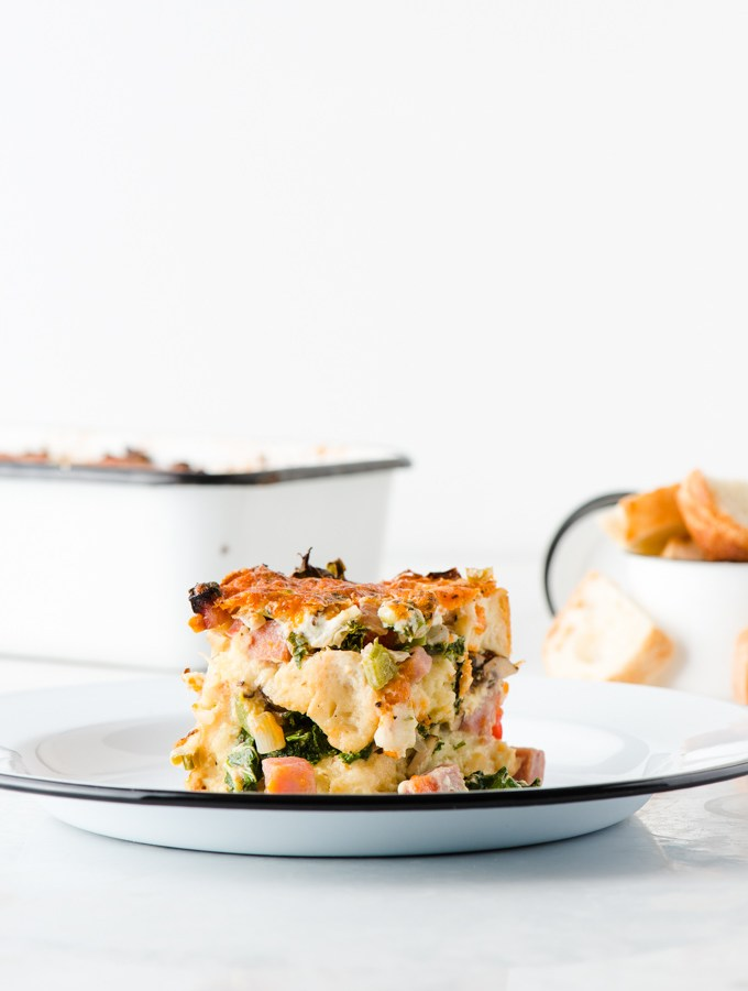 Mushroom, Kale, and Ham Breakfast Strata