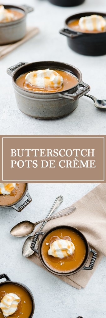 Butterscotch Pots De Creme - These are perfect for a crowd! Easy to make a large batch, and store in the fridge.