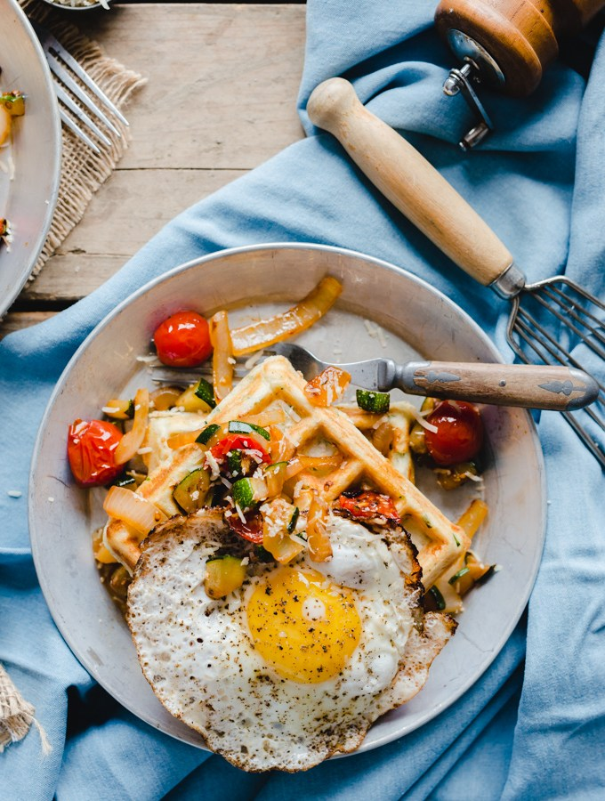 Roasted Tomato & Zucchini Waffles