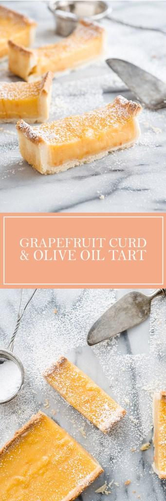 Grapefruit Curd & Olive Oil Tart - Grapefruit adds a wonderful tartness to this dessert