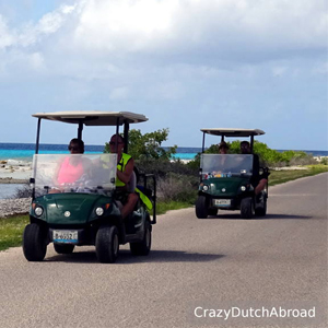 Dutch Tourists Driving Golf Carts On Bonaire