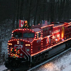 christmas train in snow