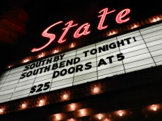 The iconic State Theater marquee was repaired and finally lit up again, proudly advertising a SXSB (South By South Bend) concert. The changing marquee and lights remind downtown South Bend that the theater is back and active after years of disuse.