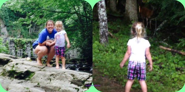 Left photo of Big Sister and I playing the Smokey Mountain Creeks. Right Photo of Big Sister surprisingly encountering a deer while walking in Cades Cove