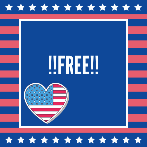 A red, white, and blue graphic with the word Free in all caps.