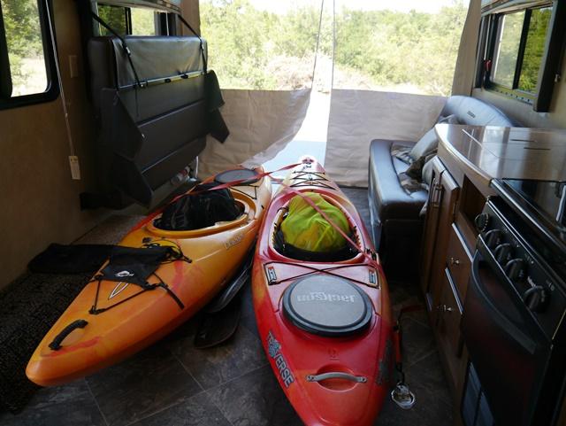 kayaks tied down