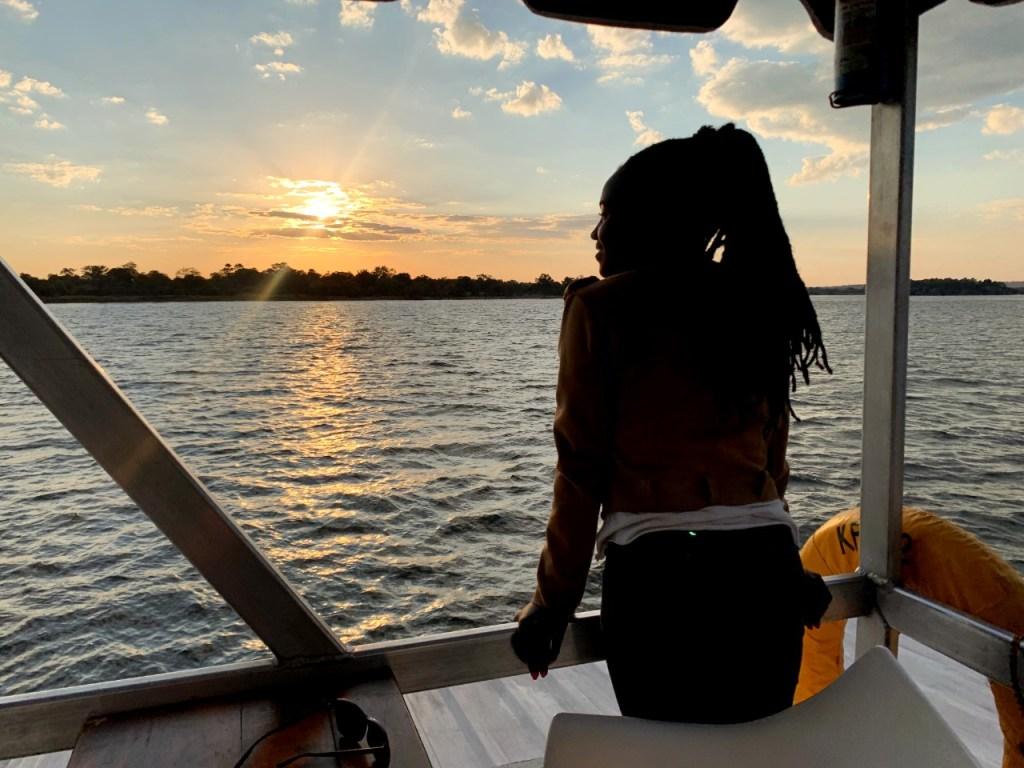 sunset cruise at zambezi river