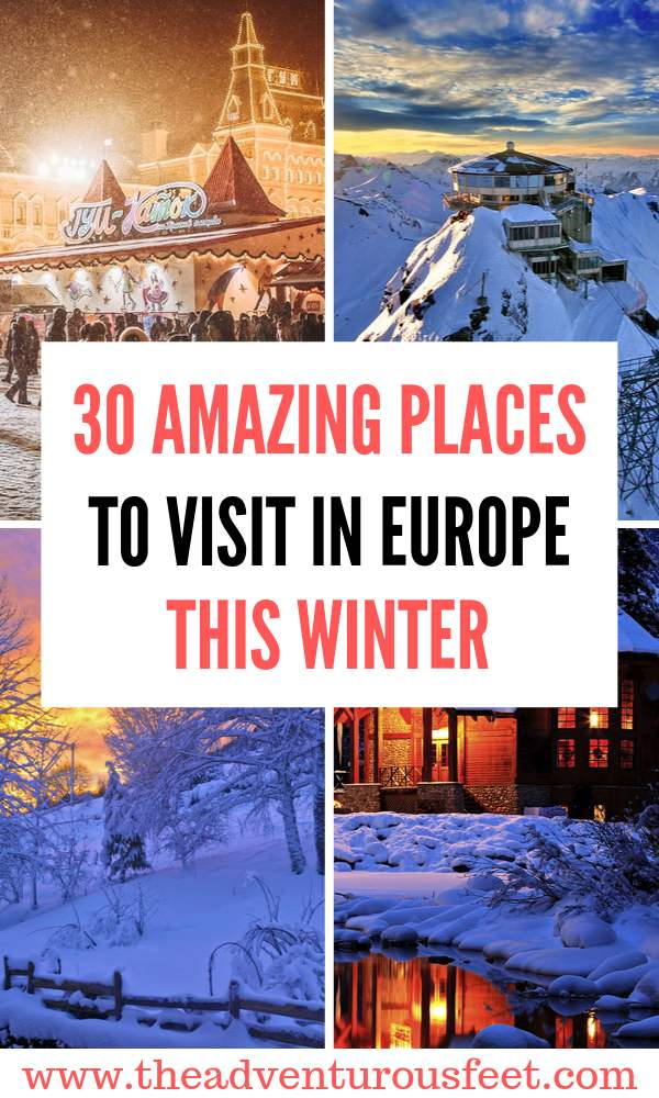 Want to experience Europe in winter? Here are the best winter destinations Europe to add to your bucket list. |Best places to visit in Europe in winter| Best European cities to visit in winter | Europe in winter | European winter destinations| where to enjoy the snowy winter in Europe #bestwinterdestinationsineurope #placestovisitinwinterineurope #europeanwinterdestinations #theadventurousfeet