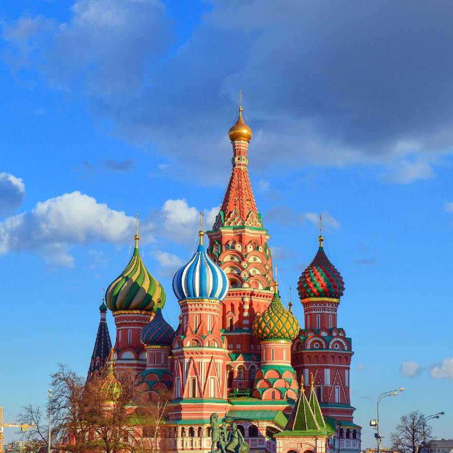 St Basil's Cathedral in Moscow is one of the famous landmarks in Europe