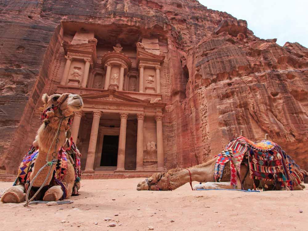 Petra in Jordan is one of the landmarks of Asia