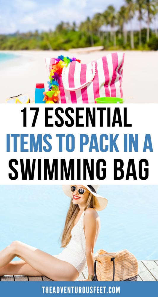 Are you planning to go swimming at the either the pool or beach? Here are the swimming bag essentials you shouldn't leave behind.| swimming essentials to pack| what to pack for the pool| swimming essentials list| swimming pool bag essentials| what to bring to the pool list| what to bring to the beach for a day| beach bag essentials| pool packing list| pool day packing list| beach day packing list for women| things to pack for swimming| things to take to the beach ideas| swimming accessories
