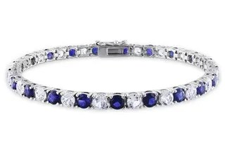 Birthday Gifts 40 Year Old Woman Sterling Silver Infinity Created Blue Sapphire And Diamond Bracelet