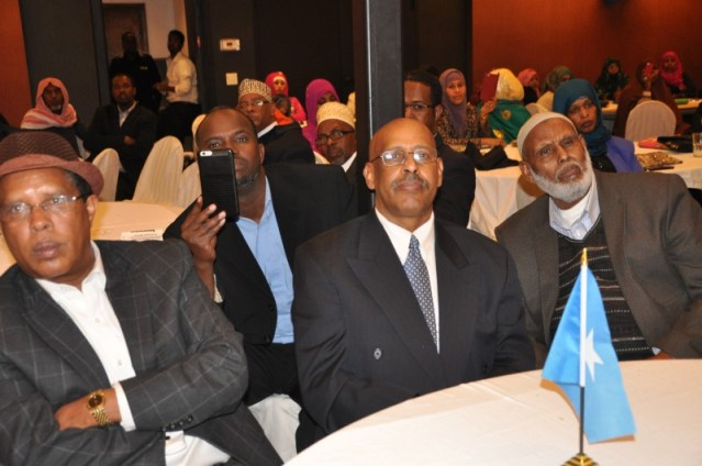 A cross section of Somalis at the Ramada Hotel listen to King Burhan.