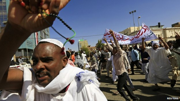 Protests against the magazine have taken place across the Muslim world, including Sudan (pictured)