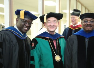 From left, Dr. Benjamin O. Akande, Washington University Chancellor Wrighton, and Gov. Ajimobi.