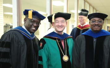 From left, Dr. Benjamin O. Akande, Washington University Chancellor Wrighton, and Gov. Ajimobi.