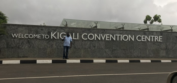 Journalist Anthony A.K. Kamara, Jnr at the Convention Centre in Kigali. Photo: The AfricaPaper
