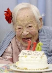 Misao Okawa, the world's oldest woman celebrating her 116th birthday in Osaka.