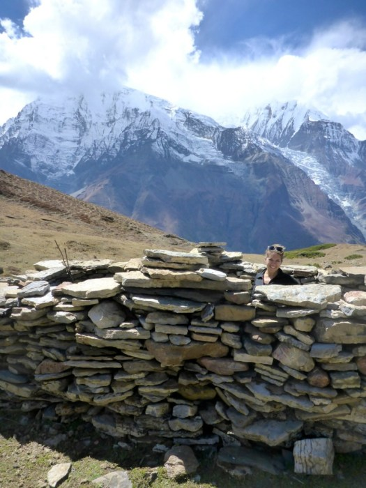 Liz hiding in the Yak Herder Ruins, Manang, Nepal.