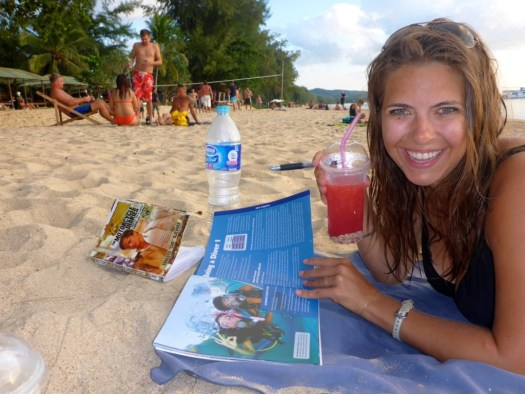Studying on the beach - Koh Lanta, Krabi, Thailand