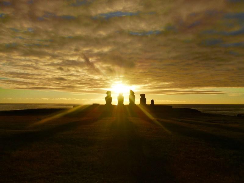 Rapa Nui Moai on Easter Island at Sunset