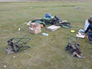 Wind blew down our cook tent. Tavan Bodg National Park; Western Mongolia