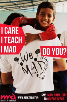 Make A Difference, is a youth volunteer network, working with orphans and unprivileged children in India.