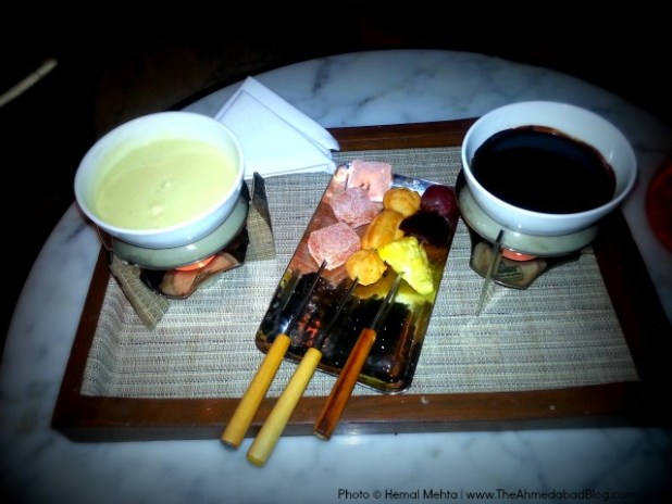 Chocolate Fondue presented in a stylish manner