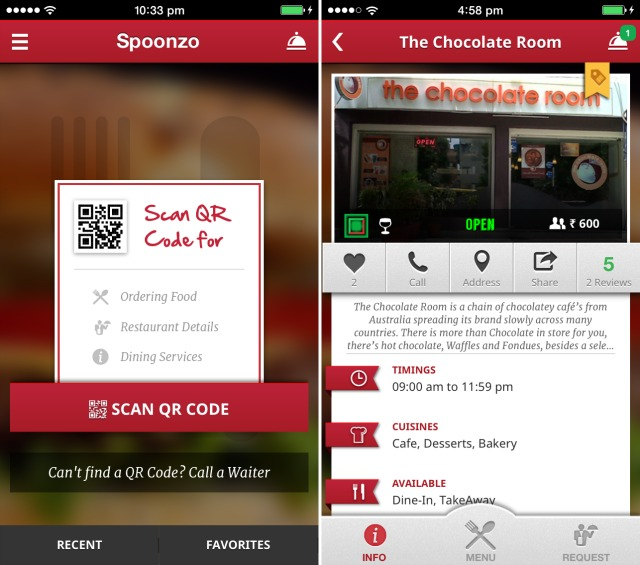 Spoonzo: a mobile app designed specifically to revolutionize the way customers interact at restaurants.