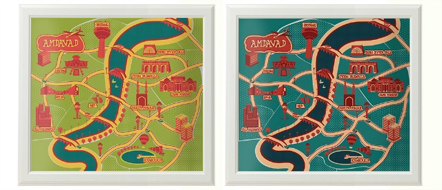Ahmedabad Souvenirs:  A map of Ahmedabad city