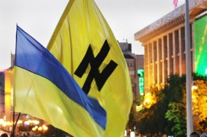 The Wolksangel (wolf's anchor or wolf's hook) symbol of Hitler's SS on a Ukrainian banner