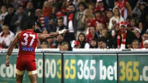 Adam Goodes points the finger after being called an 'ape' by a young Collingwood supporter (image from theage.com.au)