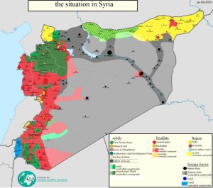 Syrian conflict map 16 September 2015 (Syrian Observatory for Human Rights 2015 authorized by Pieter Van Ostaeyen (https://pietervanostaeyen.files.wordpress.com/2015/09/2000px-syria15.png?w=640)