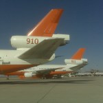 The tails of Tanker 910 and the new Tanker 911