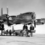 X-1-3 being mated to its B-50 mothership. This plane exploded shortly after the flight it was being prepared for here.