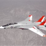 NASA 834, an F-14 Navy Tomcat, seen here in flight, was used at Dryden in 1986 and 1987 in a program known as the Variable-Sweep Transition Flight Experiment (VSTFE). This program explored laminar flow on variable sweep aircraft at high subsonic speeds. (NASA photo)