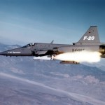 Northrop F-20 in flight firing a AGM-65 Maverick missile. (U.S. Air Force photo)