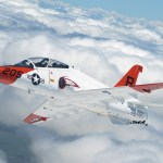 A T-45A Goshawk executes a turning rejoin during a recent formation flight over South Texas. (US Navy photo)