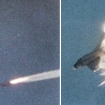 "A ""Phoenix"" destroys a McDonnell QF-4B Phantom II target drone over the Naval Weapons Center China Lake, Calif."
